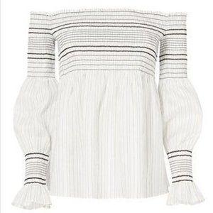Intermix Thea Off Shoulder White Black stripe Top